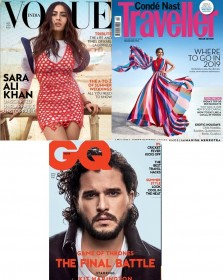 Vogue + GQ + Conde Nast Traveller Magazines Combo